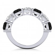 Cushion Black & White Diamond Seven Stone Ring 14k White Gold (5.25ct)|escape