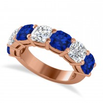 Cushion Diamond & Blue Sapphire Seven Stone Ring 14k Rose Gold (5.85ct)
