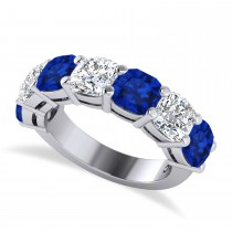 Cushion Diamond & Blue Sapphire Seven Stone Ring 14k White Gold (5.85ct)