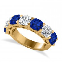 Cushion Diamond & Blue Sapphire Seven Stone Ring 14k Yellow Gold (5.85ct)