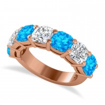 Cushion Diamond & Blue Topaz Seven Stone Ring 14k Rose Gold (5.85ct)
