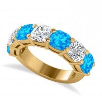 Cushion Diamond & Blue Topaz Seven Stone Ring 14k Yellow Gold (5.85ct)