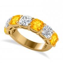 Cushion Diamond & Citrine Seven Stone Ring 14k Yellow Gold (5.85ct)