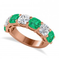 Cushion Diamond & Emerald Seven Stone Ring 14k Rose Gold (5.85ct)