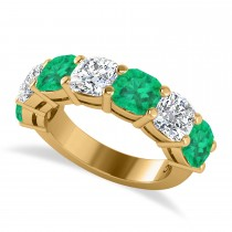 Cushion Diamond & Emerald Seven Stone Ring 14k Yellow Gold (5.85ct)