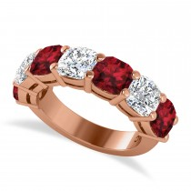 Cushion Diamond & Garnet Seven Stone Ring 14k Rose Gold (5.85ct)
