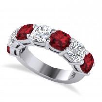 Cushion Diamond & Garnet Seven Stone Ring 14k White Gold (5.85ct)