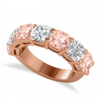 Cushion Diamond & Morganite Seven Stone Ring 14k Rose Gold (5.85ct)