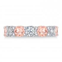 Cushion Diamond & Morganite Seven Stone Ring 14k White Gold (5.85ct)