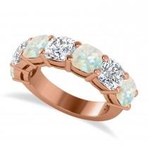 Cushion Diamond & Opal Seven Stone Ring 14k Rose Gold (5.85ct)