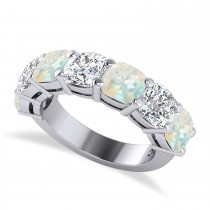 Cushion Diamond & Opal Seven Stone Ring 14k White Gold (5.85ct)