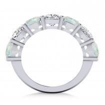 Cushion Diamond & Opal Seven Stone Ring 14k White Gold (5.85ct)