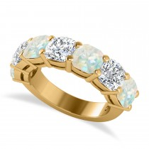 Cushion Diamond & Opal Seven Stone Ring 14k Yellow Gold (5.85ct)