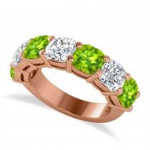 Cushion Diamond & Peridot Seven Stone Ring 14k Rose Gold (5.85ct)