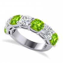 Cushion Diamond & Peridot Seven Stone Ring 14k White Gold (5.85ct)