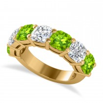 Cushion Diamond & Peridot Seven Stone Ring 14k Yellow Gold (5.85ct)