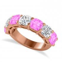 Cushion Diamond & Pink Sapphire Seven Stone Ring 14k Rose Gold (5.85ct)
