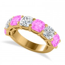 Cushion Diamond & Pink Sapphire Seven Stone Ring 14k Yellow Gold (5.85ct)