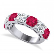 Cushion Diamond & Ruby Seven Stone Ring 14k White Gold (5.85ct)