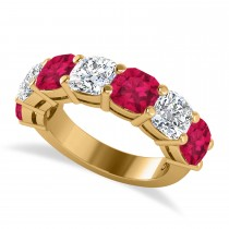 Cushion Diamond & Ruby Seven Stone Ring 14k Yellow Gold (5.85ct)