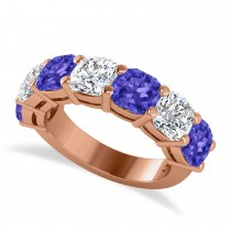 Cushion Diamond & Tanzanite Seven Stone Ring 14k Rose Gold (5.85ct)