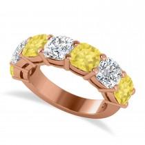 Cushion Yellow & White Diamond Seven Stone Ring 14k Rose Gold (5.25ct)