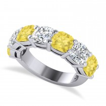 Cushion Yellow & White Diamond Seven Stone Ring 14k White Gold (5.25ct)