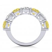 Cushion Yellow & White Diamond Seven Stone Ring 14k White Gold (5.25ct)|escape