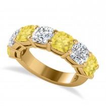 Cushion Yellow & White Diamond Seven Stone Ring 14k Yellow Gold (5.25ct)