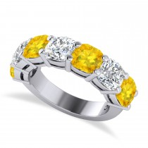 Cushion Diamond & Yellow Sapphire Seven Stone Ring 14k White Gold (5.85ct)