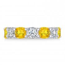 Cushion Diamond & Yellow Sapphire Seven Stone Ring 14k White Gold (5.85ct)