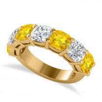 Cushion Diamond & Yellow Sapphire Seven Stone Ring 14k Yellow Gold (5.85ct)