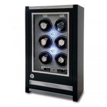 Rapport London Paramount Ebony Wood Six Watch Winder w/ Glass Door