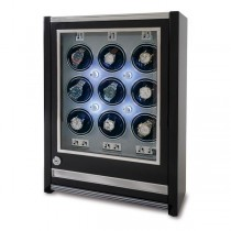 Rapport London Paramount Ebony Wood 9 Watch Winder w/ Glass Door