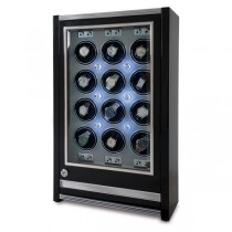 Rapport London Paramount Ebony Wood 12 Watch Winder w/ Glass Door