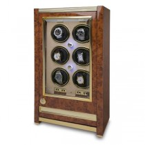 Rapport London Paramount Walnut Burr Six Watch Winder w/ Glass Door