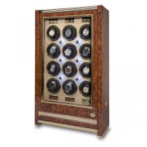Rapport London Paramount Walnut Burr 12 Watch Winder w/ Glass Door