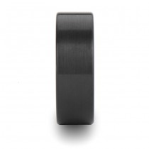 Brushed Finish Flat Carbide Black Tungsten Wedding Band (8mm)