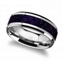 Beveled Tungsten Wedding Band w/ Purple Goldstone Inlay (8MM)
