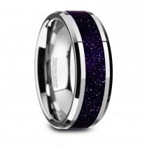 Maki Beveled Tungsten Wedding Band w/ Purple Goldstone Inlay (8MM)