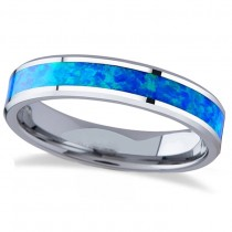 Blue Green Opal Inlay Tungsten Wedding Band (4mm)