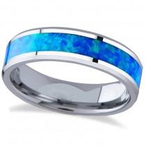 Blue Green Opal Inlay Tungsten Wedding Band (6mm)