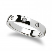 Isabella Rounded White Tungsten Carbide Ring w/ 3 Diamonds (4MM)
