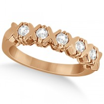 Five Stone XOXO Diamond Ring Anniversary Band 14k Rose Gold (0.75ct)