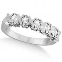 Five Stone XOXO Diamond Ring Anniversary Band 14k White Gold (0.75ct)