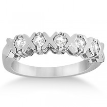 Five Stone XOXO Diamond Ring Anniversary Band 14k White Gold (0.75ct)