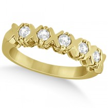 Five Stone XOXO Diamond Ring Anniversary Band 18k Yellow Gold (0.75ct)