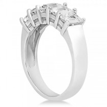 Diamond Seven-Stone Emerald Cut Ring Band 14k White Gold (2.45ct)