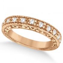 Designer Infinity Carved Diamond Ring w/ Scrollwork 14K Rose Gold (0.21ct)
