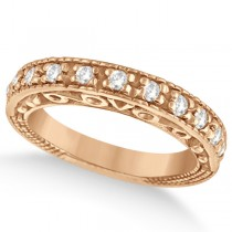 Designer Infinity Carved Diamond Ring w/ Scrollwork 18K Rose Gold (0.21ct)